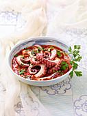 Polpo in agliata (octopus in sour tomato sauce) Sardinia, Italy