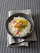 Rice with prawn curry bechamel sauce and prawns