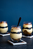 Tiramisu with layer of black sesame paste (tahini)