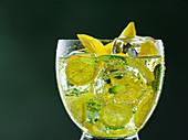 Soda lemon in a glass