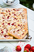 Strawberry and rhubarb tray bake cake