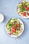 Beetroot baked falafels with coriander yoghurt, cucumber ribons, pomegranate and rocket salad.