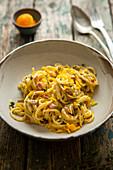 Pasta speck thymian cured egg yolkes