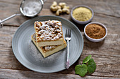 Vegan millet and cashew nut cheesecake with coconut flower crumbles