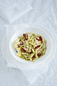 Fusilli in and egg and herb sauce with tuna and dried tomatoes