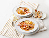 Prawn and langoustine soup with orange