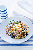 Spaghetti with mackerel fillets and caponatina