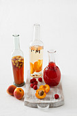 Homemade fruit vinegar with various fruits and spices