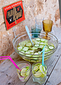 White sangria with lime, melon and cucumber