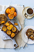 Pumpkin and date loaf with clementines