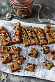 Tahini and dates homemade bars with sesame seeds and cranberry