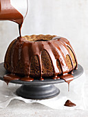 Eggnog Bundt cake with chocolate glaze