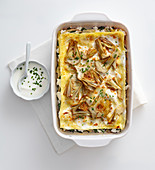 Artichoke lasagne with herbs and goat's cheese
