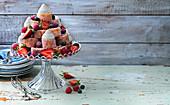 Swiss roll cake, berries, whipped cream