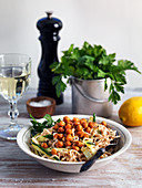 Vegan noodles with roasted chickpeas, zucchini and lemon