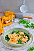 Pumpkin ravioli with spinach