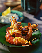 Prawns wrapped in bacon