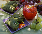 Grape jelly and stuffed vine leaves
