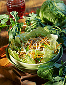 Kohlrabi and carrot salad with meat