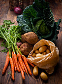 Different types of vegetables (carrots, potatoes, savoy cabbage, onions)