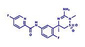 Verubecestat Alzheimers disease drug molecule, illustration
