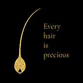 Gold hair follicle, conceptual illustration