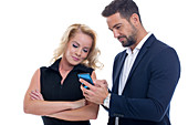 Businesspeople using smartphone