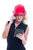 Construction manager on phone