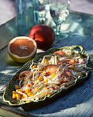 Seafood salad with mango and grapefruit