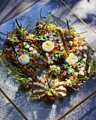 Vegetable terrine with hard-boiled eggs