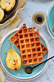 Crispy waffles with roasted pears