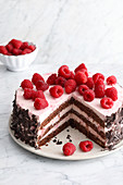 A raspberry and chocolate cake