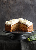 Courgette cake with a cream cheese topping