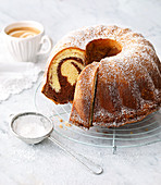 Classic Bundt cake with icing sugar