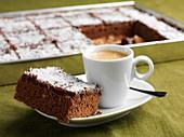 Kärleksmums (Swedish chocolate-coconut slices) with espresso