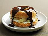 Pear doughnut with chocolate sauce