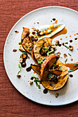 Oven-roasted pumpkin with hazelnuts, yoghurt and sea buckthorn