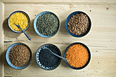 Various types of lentils in small bowls on rustic wooden table