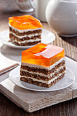 Layered nut cake with jelly