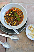 Turkish beluga lentil ragout with macadamia nuts