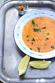 Turkish lentil soup with mint