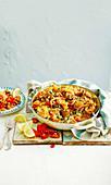 Hähnchen-Pilaw-Pfanne mit Gemüse