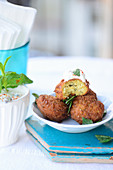 Turkish falafel with ras-el-hanout yoghurt