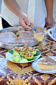 Turkish orange cake with stuffed green figs