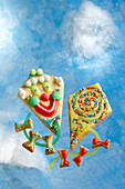 Colourful kite biscuits for a children's birthday party