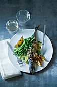 Grilled lemon mackerel with a honey and ginger sauce