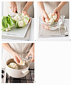 Cauliflower being cut and cooked