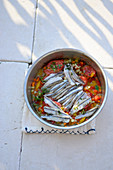 Roasted Turkish sardine fillets with Mediterranean vegetables