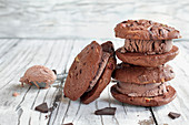 Chocolate ice cream cookie sandwiches