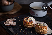 Vegetarian vol au vent with spring onions, cheese, mushrooms and bechamel sauce